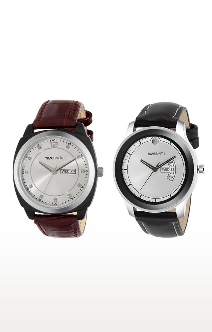 Timesmith   Timesmith Brown and Black Analog Watch - Set of 2 For Men