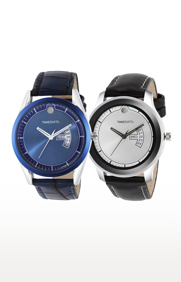 Timesmith | Timesmith Blue and Black Analog Watch - Set of 2 For Men