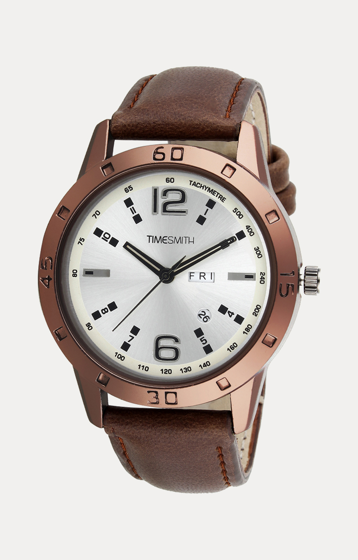 Timesmith   Timesmith Brown Leather Analog Watch For Men