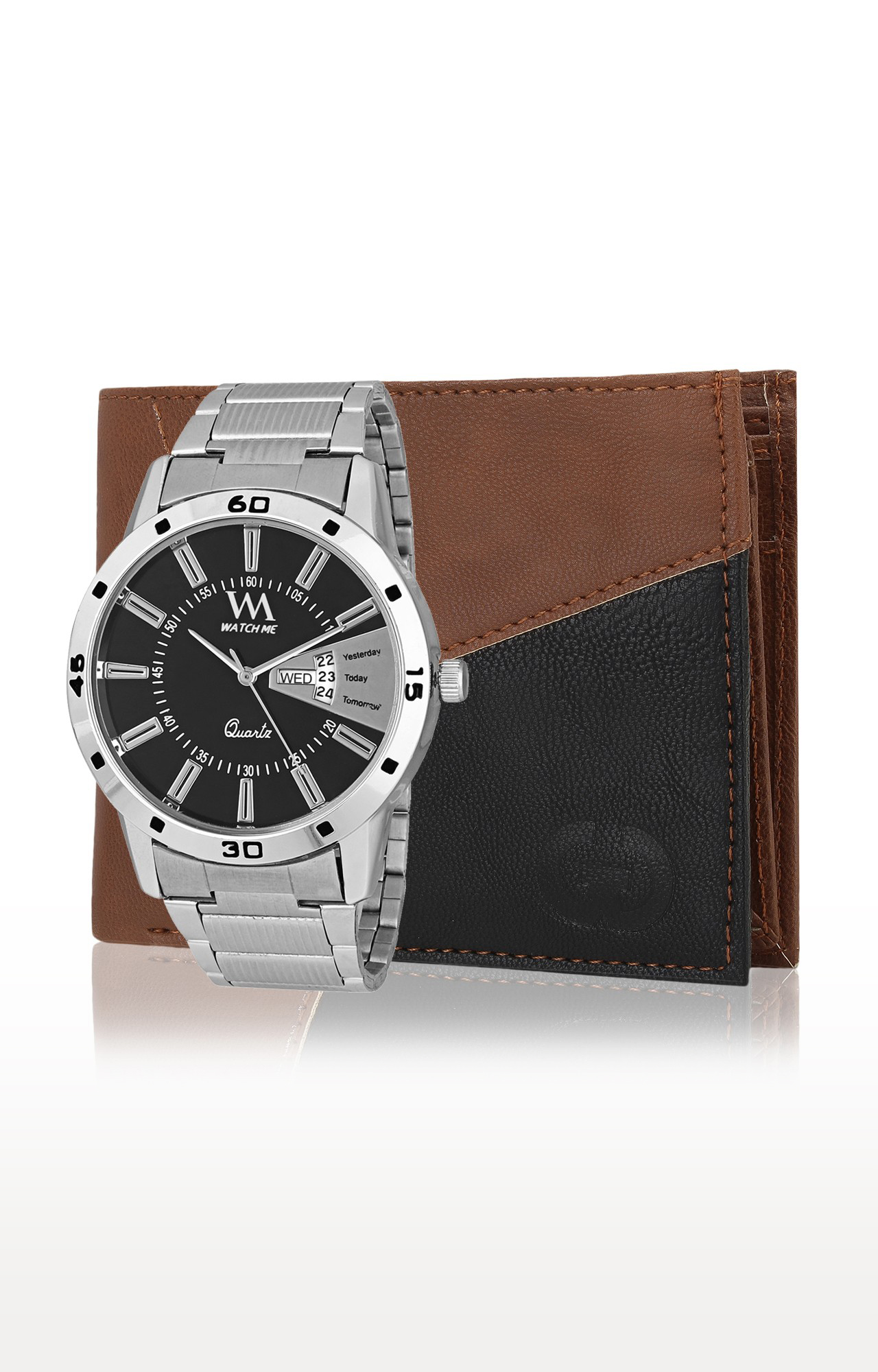 Greywood   Brown and Silver Wallet and Analog Watch