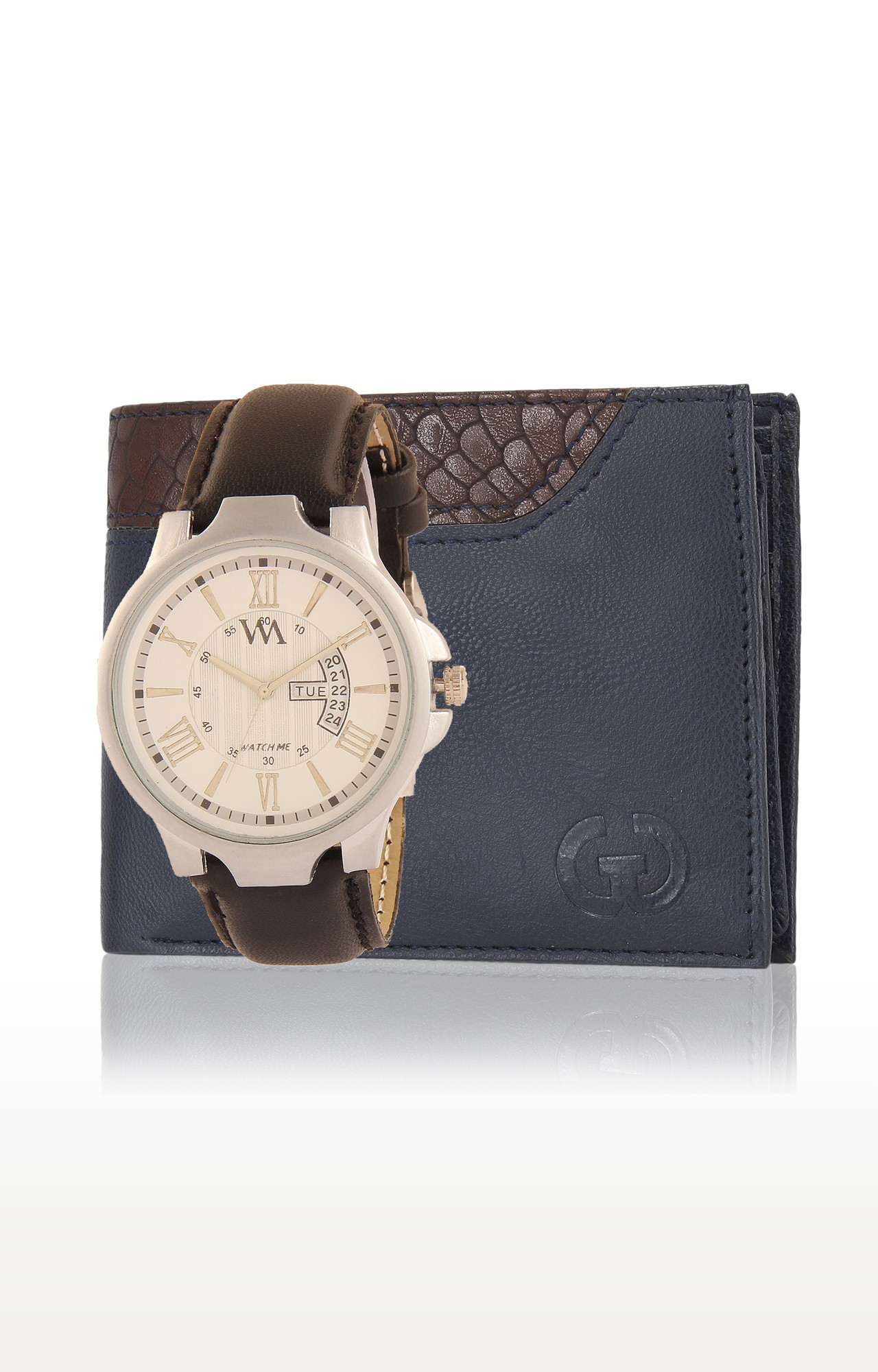 Greywood   Blue and Brown Wallet and Analog Watch