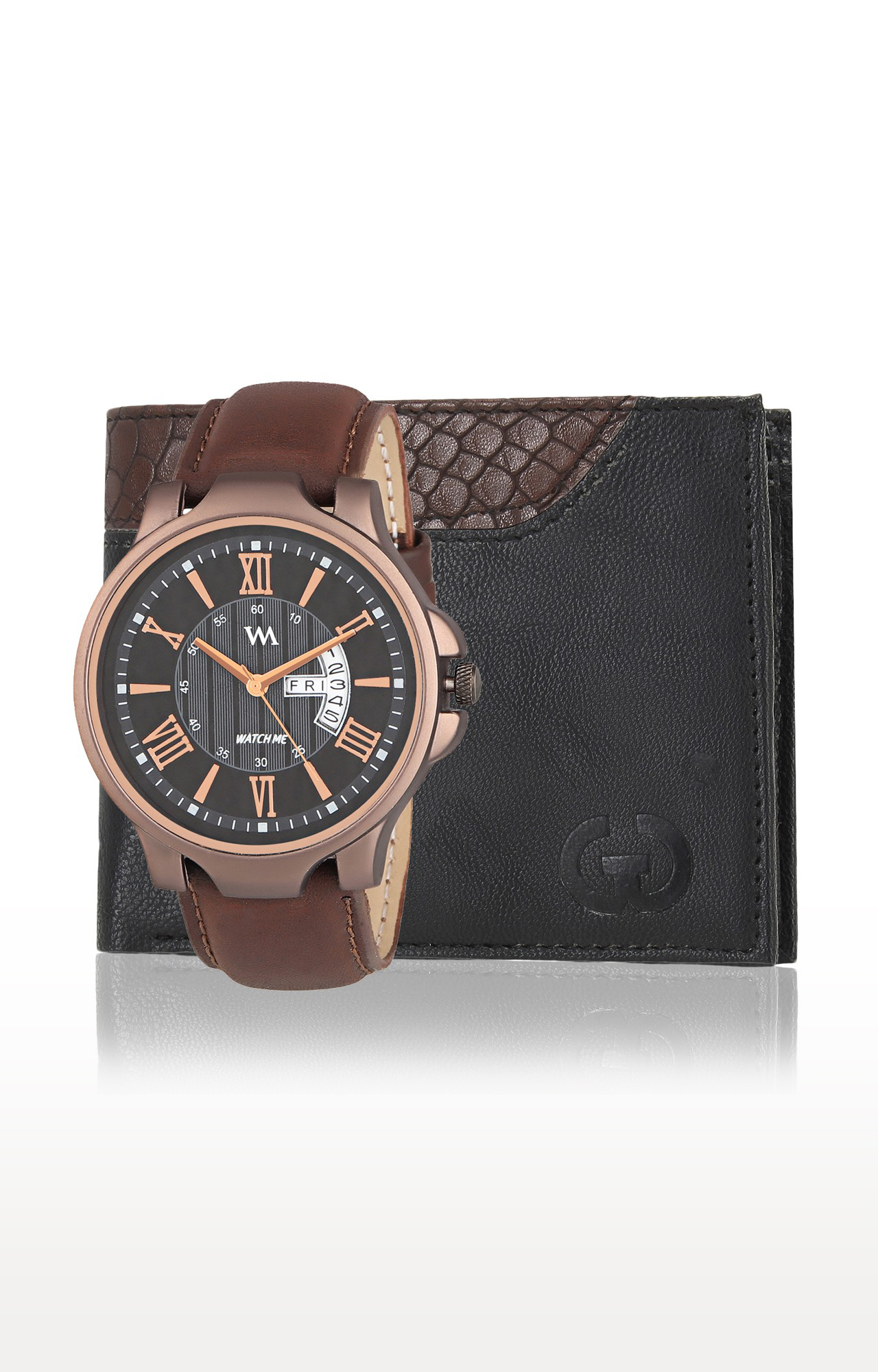 Greywood   Black and Brown Wallet and Analog Watch