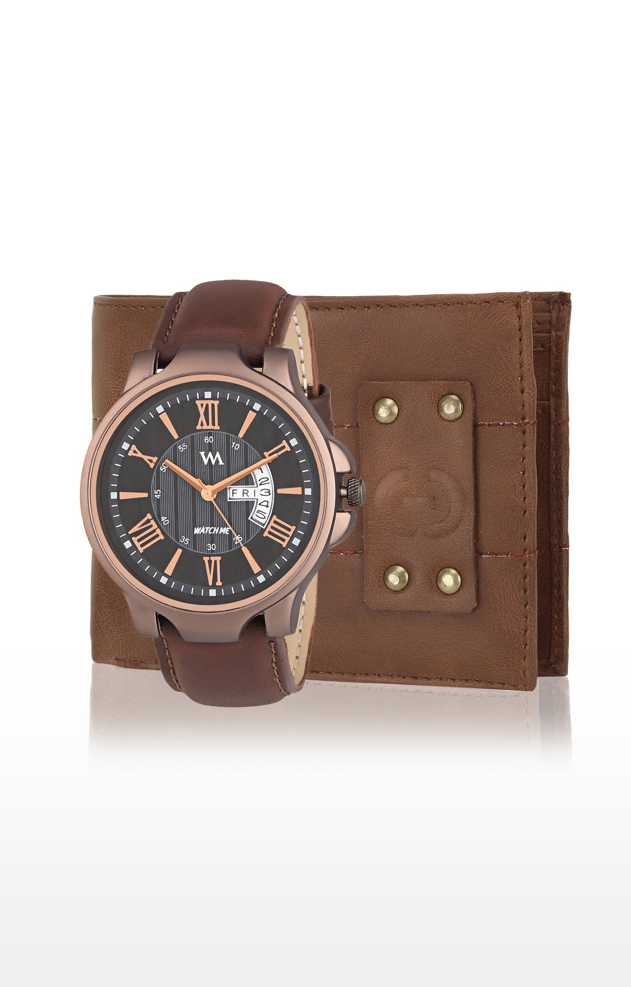 Greywood   Brown Wallet and Analog Watch