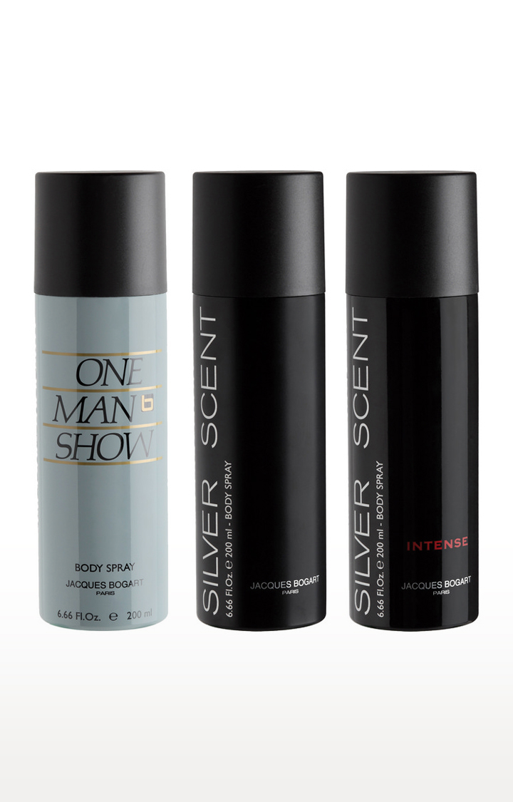 Jacques Bogart | One Man Show, Silver Scent Intense and Silver Scent Deo Combo Set of 3