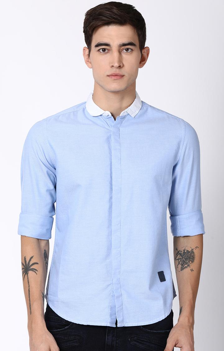 Blue Saint | Light Blue Solid Casual Shirt