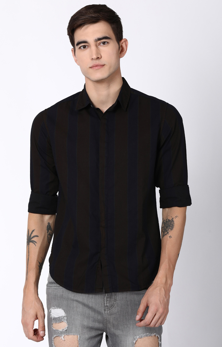 Blue Saint | Black and Navy Striped Casual Shirt