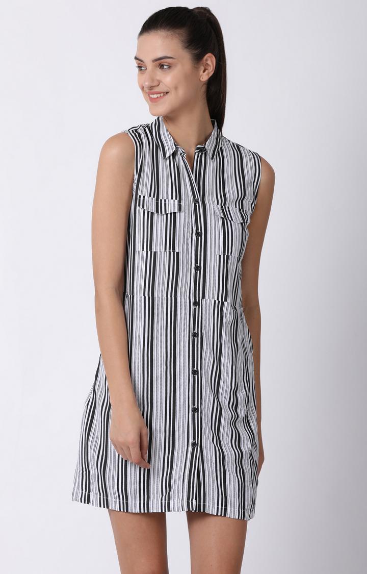 Blue Saint   Black and White Striped Shift Dress
