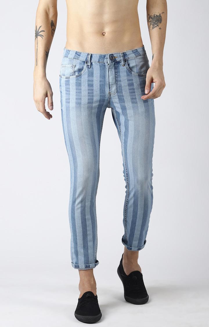 Blue Saint | Light Blue Striped Tapered Jeans