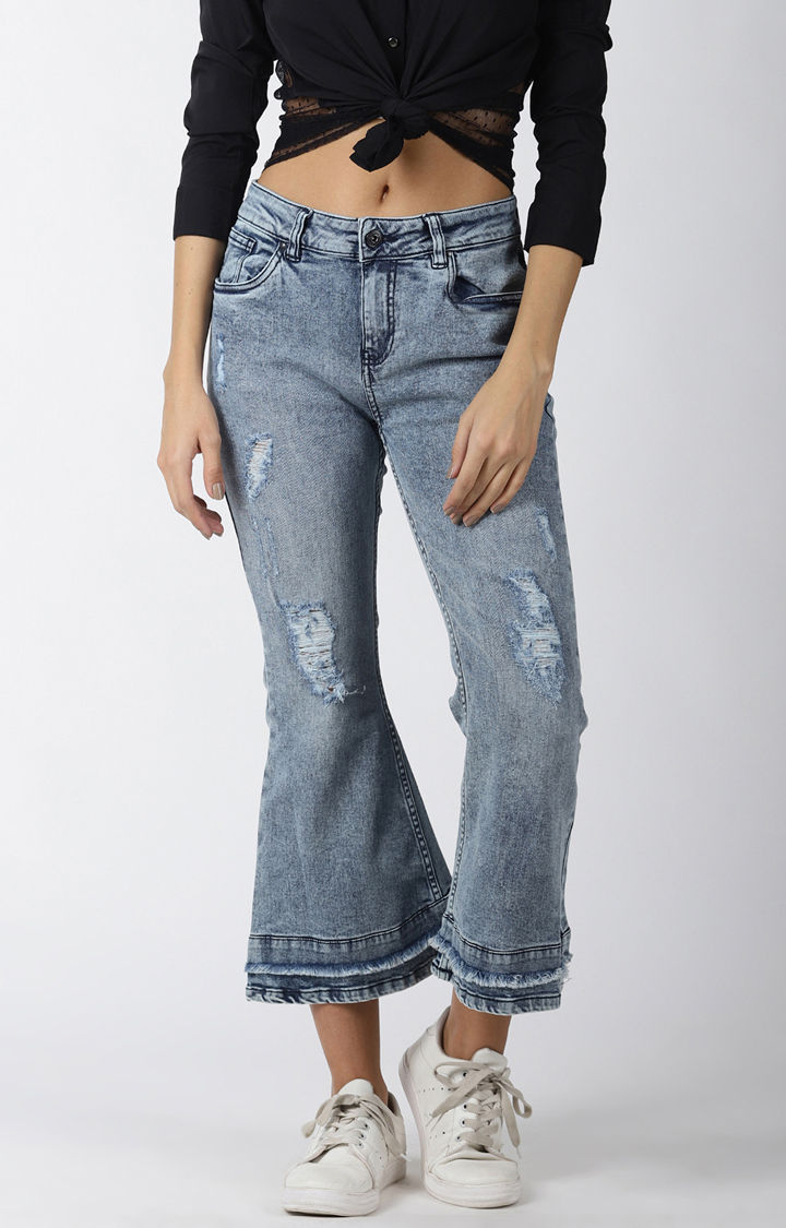 Blue Saint   Blue Ripped Flared Jeans