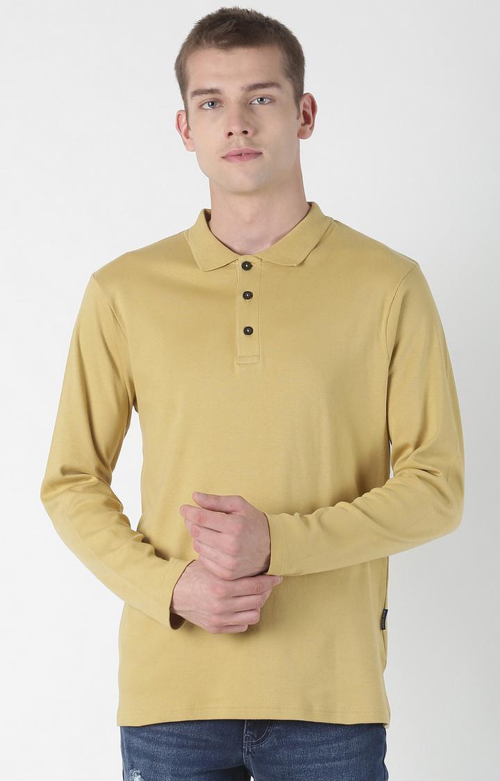 Blue Saint   Brown Solid Polo T-Shirt