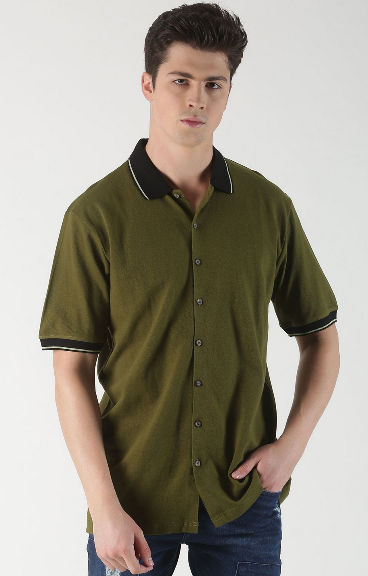 Blue Saint   Green Solid Casual Shirt