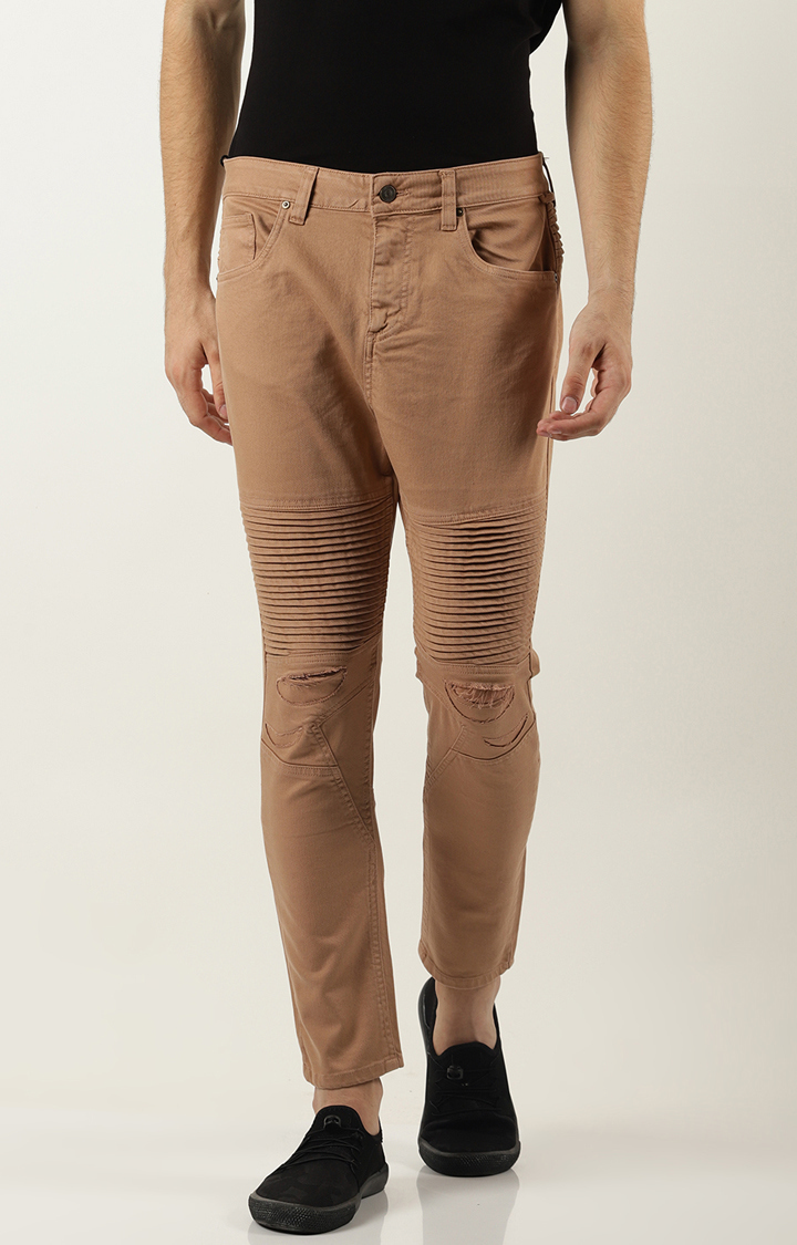 Blue Saint | Brown Solid Tapered Jeans