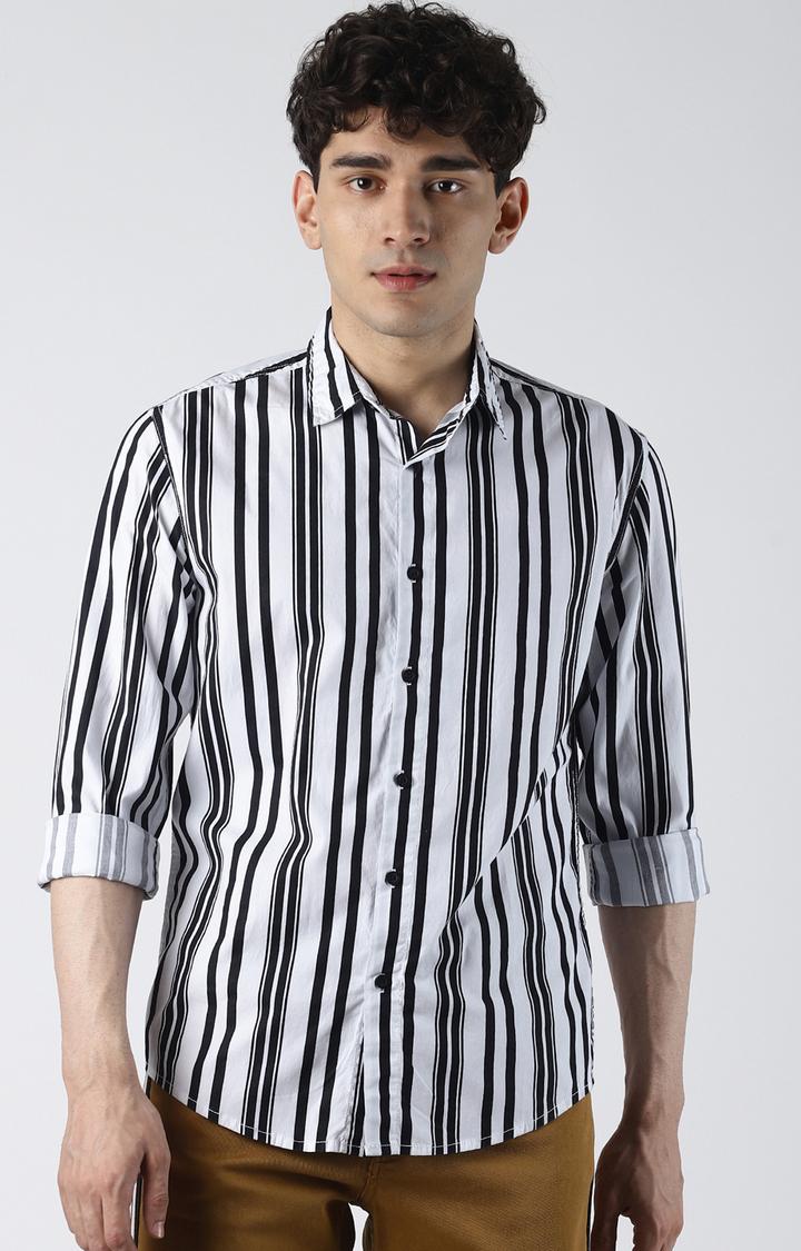 Blue Saint | White Striped Casual Shirt