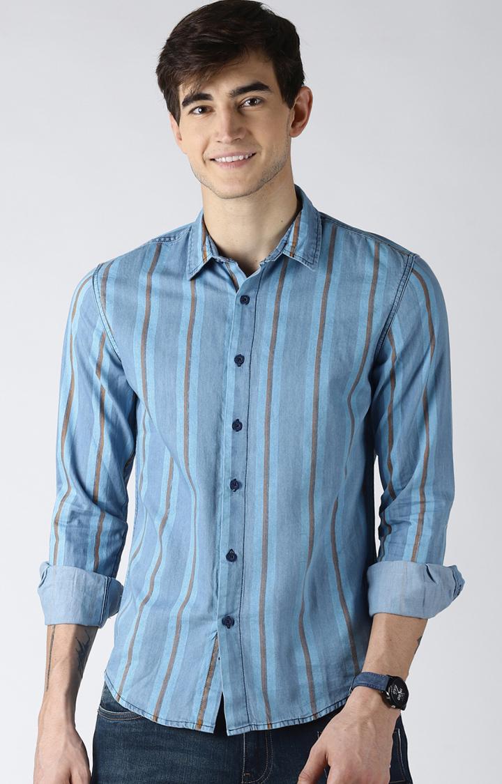 Blue Saint | Light Blue Striped Casual Shirt