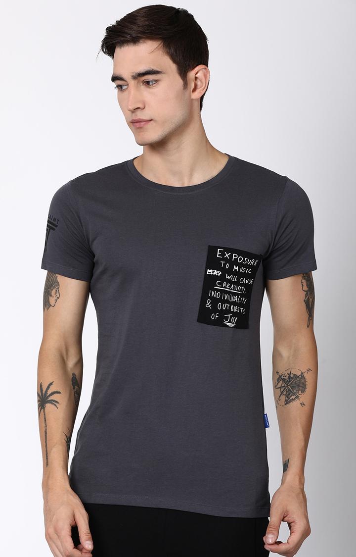 Blue Saint   Grey Solid T-Shirt
