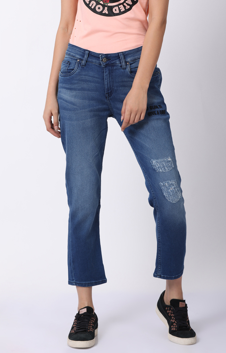 Blue Saint | Blue Ripped Cropped Jeans