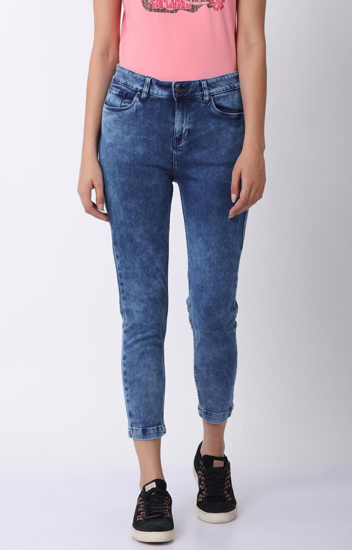 Blue Saint | Blue Solid Cropped Jeans