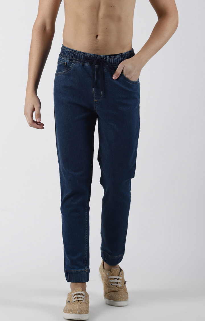 Blue Saint | Blue Solid Tapered Jeans