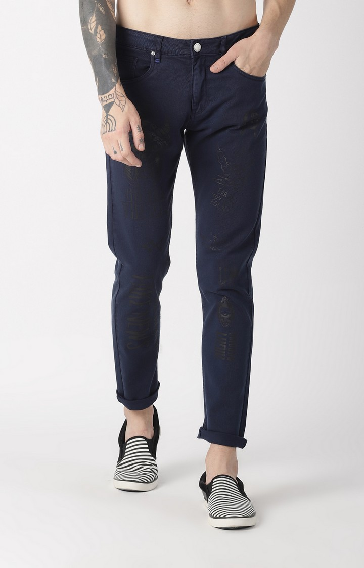 Blue Saint | Navy Printed Tapered Jeans