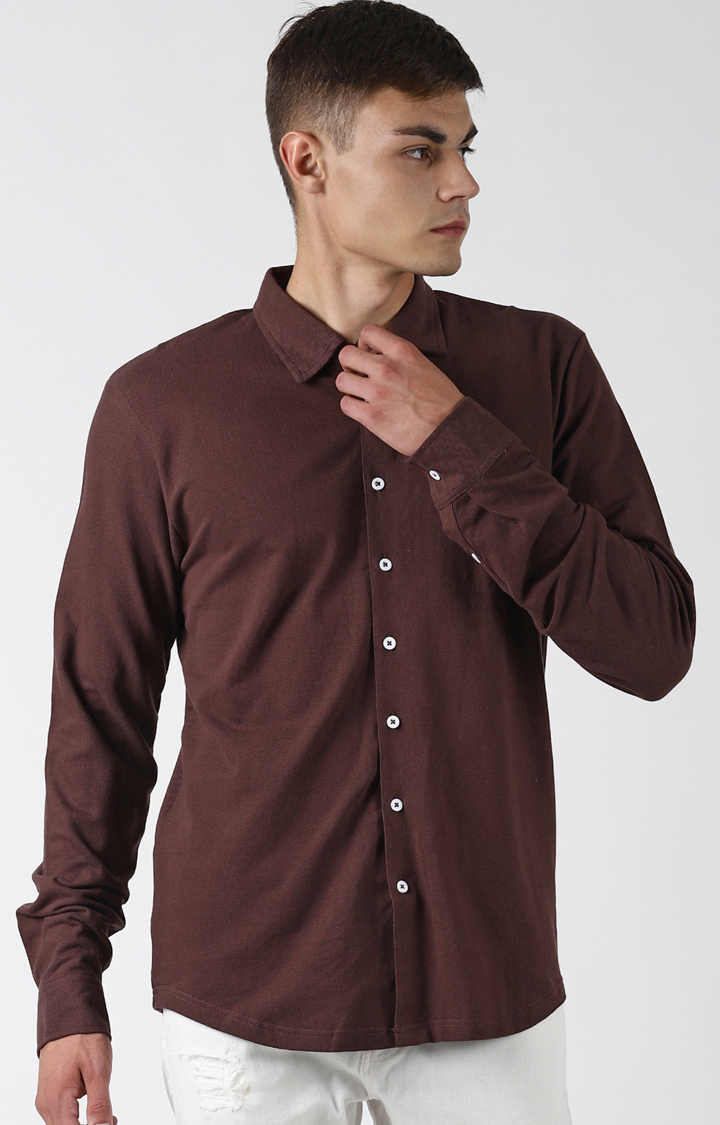 Blue Saint   Brown Solid Casual Shirt