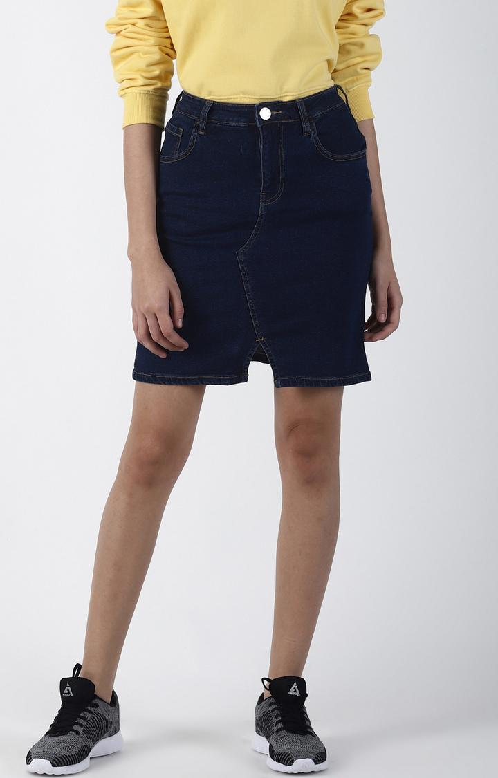 Blue Saint | Blue Solid Straight Skirt