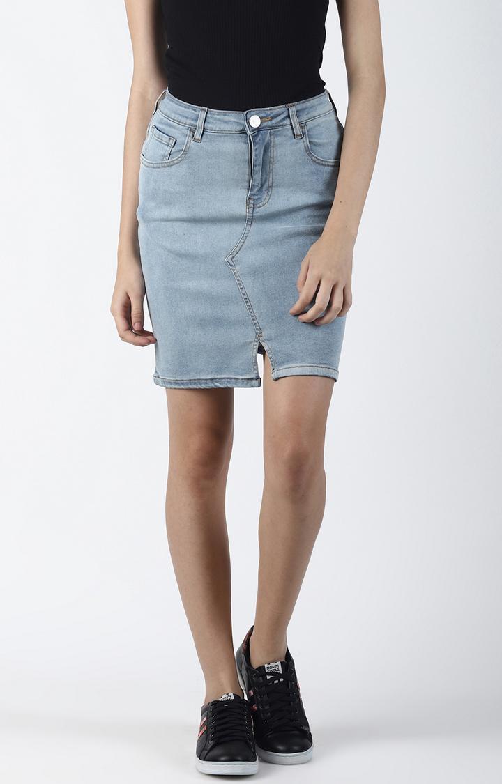 Blue Saint   Blue Solid Straight Skirt