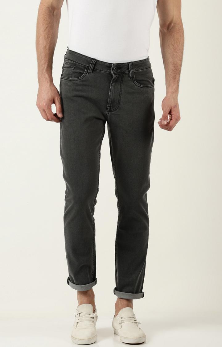 Blue Saint | Dark Grey Solid Straight Jeans