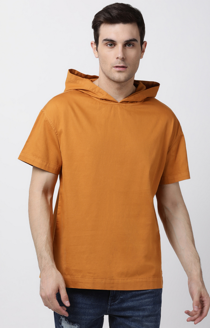 Blue Saint   Light Rust Solid Casual Shirt with Hood