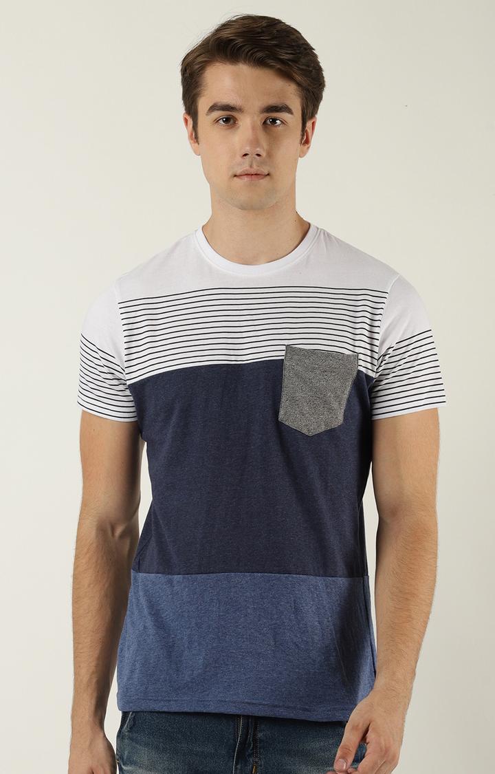 Blue Saint | White and Blue Colourblock T-Shirt