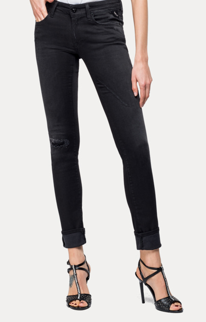 REPLAY | Black Solid Straight Jeans