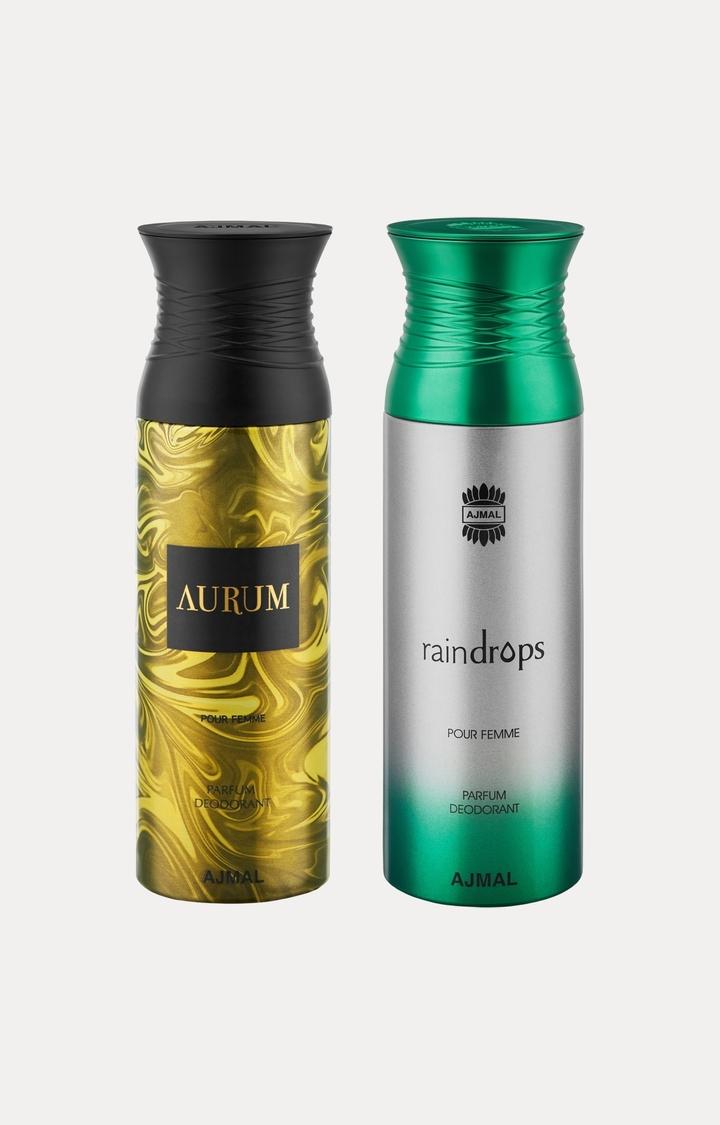 Ajmal   Aurum and Raindrops Deodorants - Pack of 2