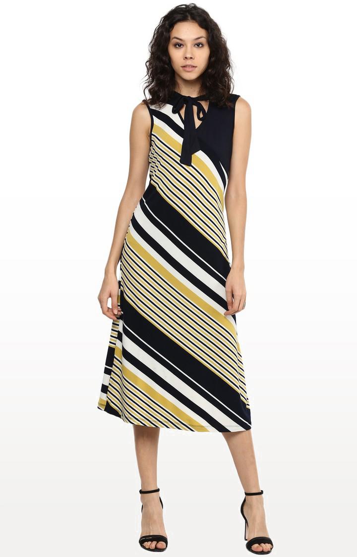109F | Multicoloured Striped Shift Dress
