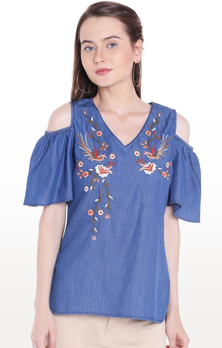 109F | Blue Embroidered Top