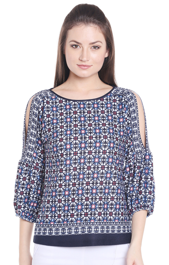 109F | Blue and Black Printed Top