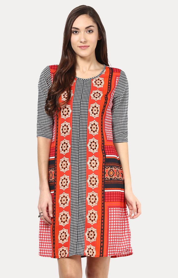 109F | Multicoloured Printed Shift Dress