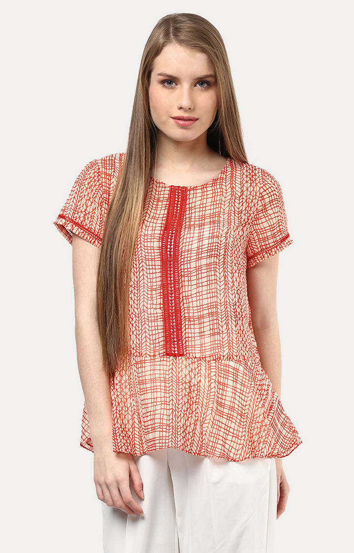 109F | Red Printed Top