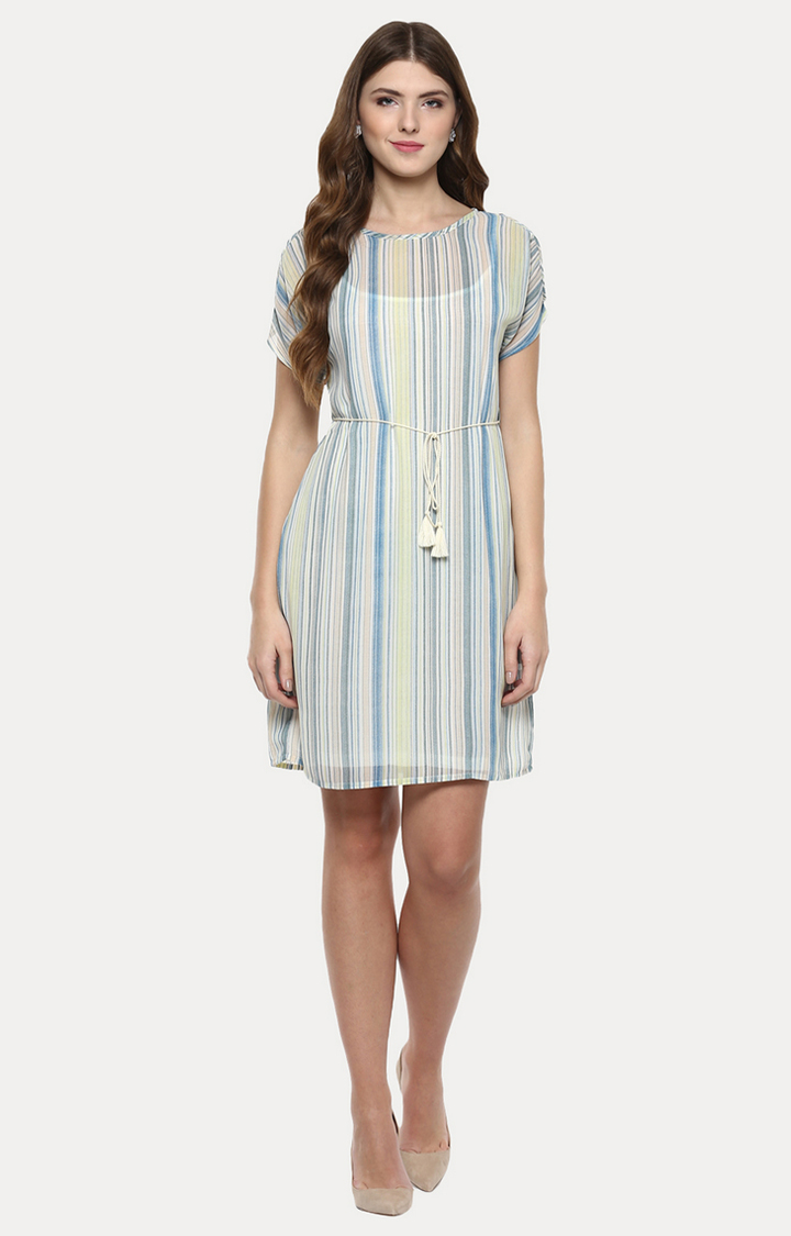 109F | Multicoloured Striped Cold Shoulder Dress