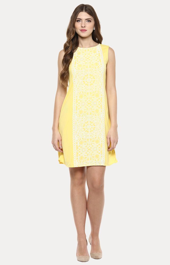 109F | Yellow Printed Shift Dress