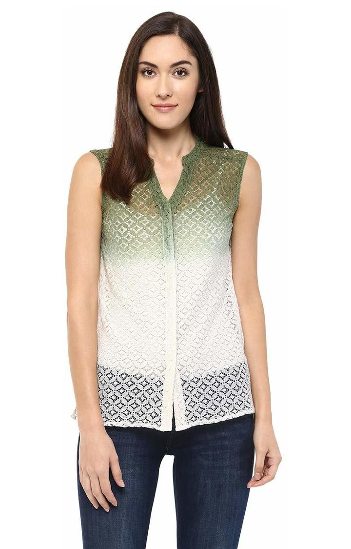 109F   Green and White Embroidered Top