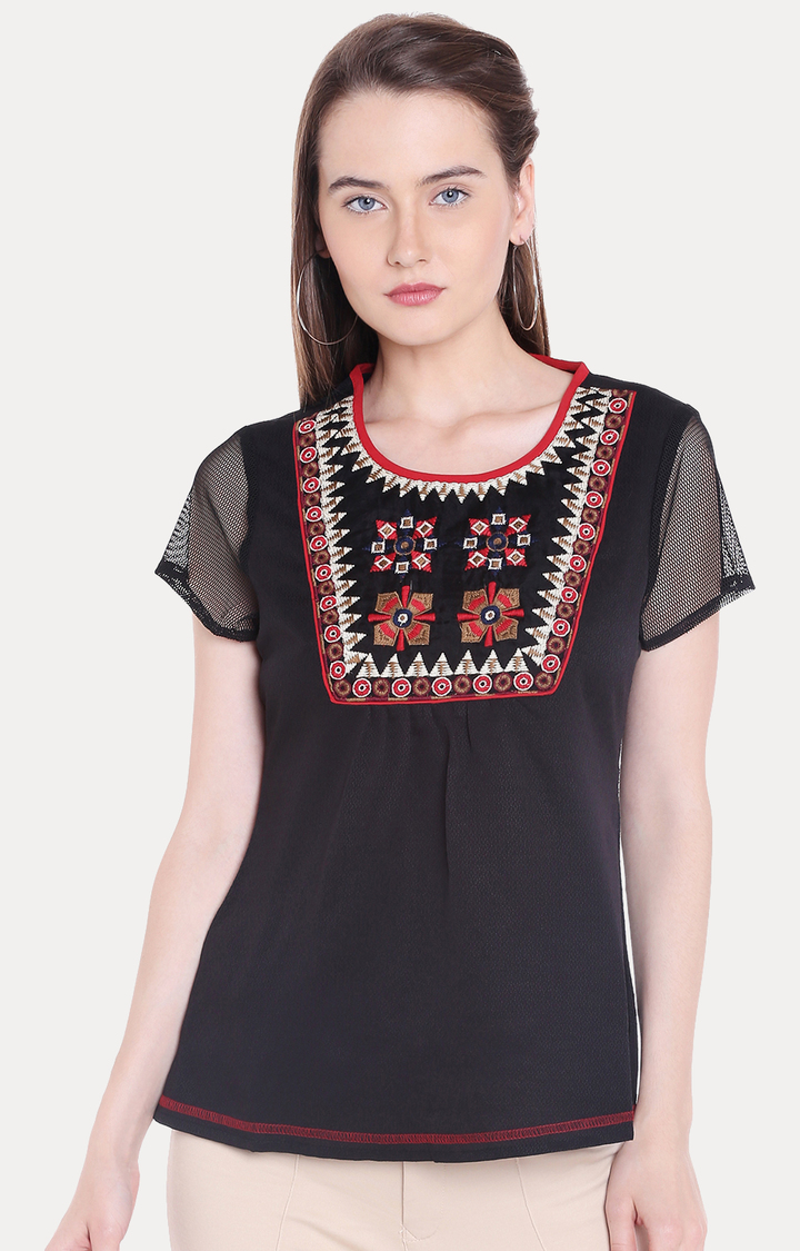 109F | Black Embroidered Top