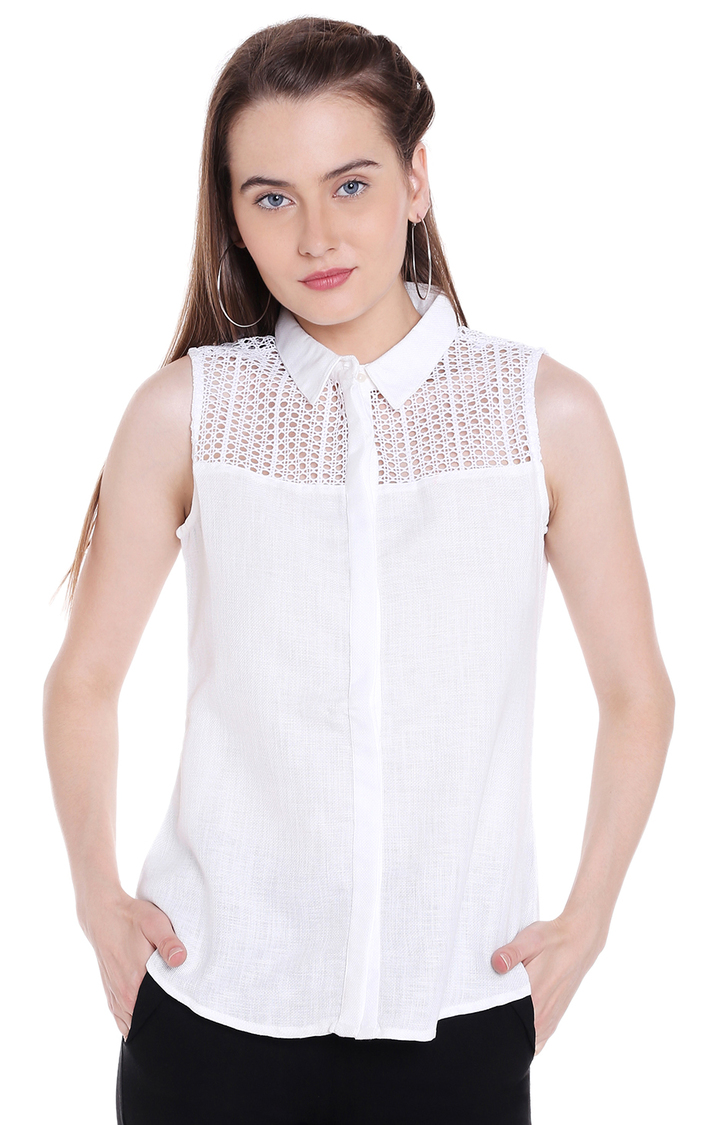 109F   White Melange Casual Shirt