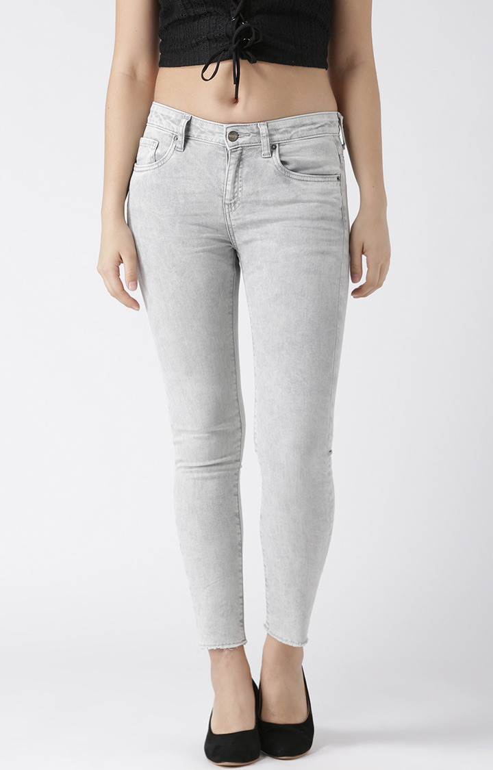 109F   Grey Solid Ankle Length Skinny Fit Jeans