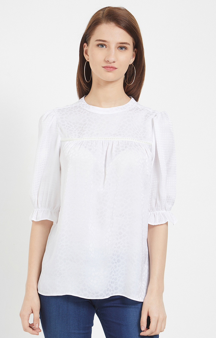 109F   White Printed Top with Pearl Detailing