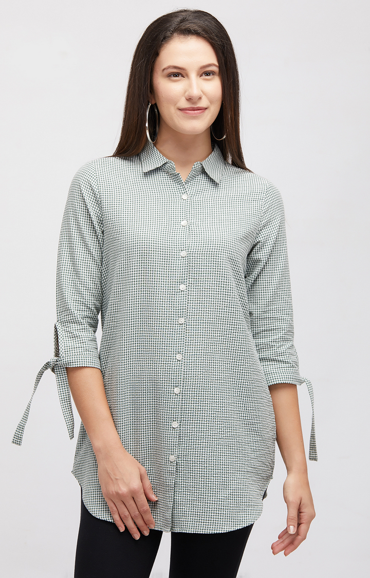 109F | Green Checked Casual Shirt