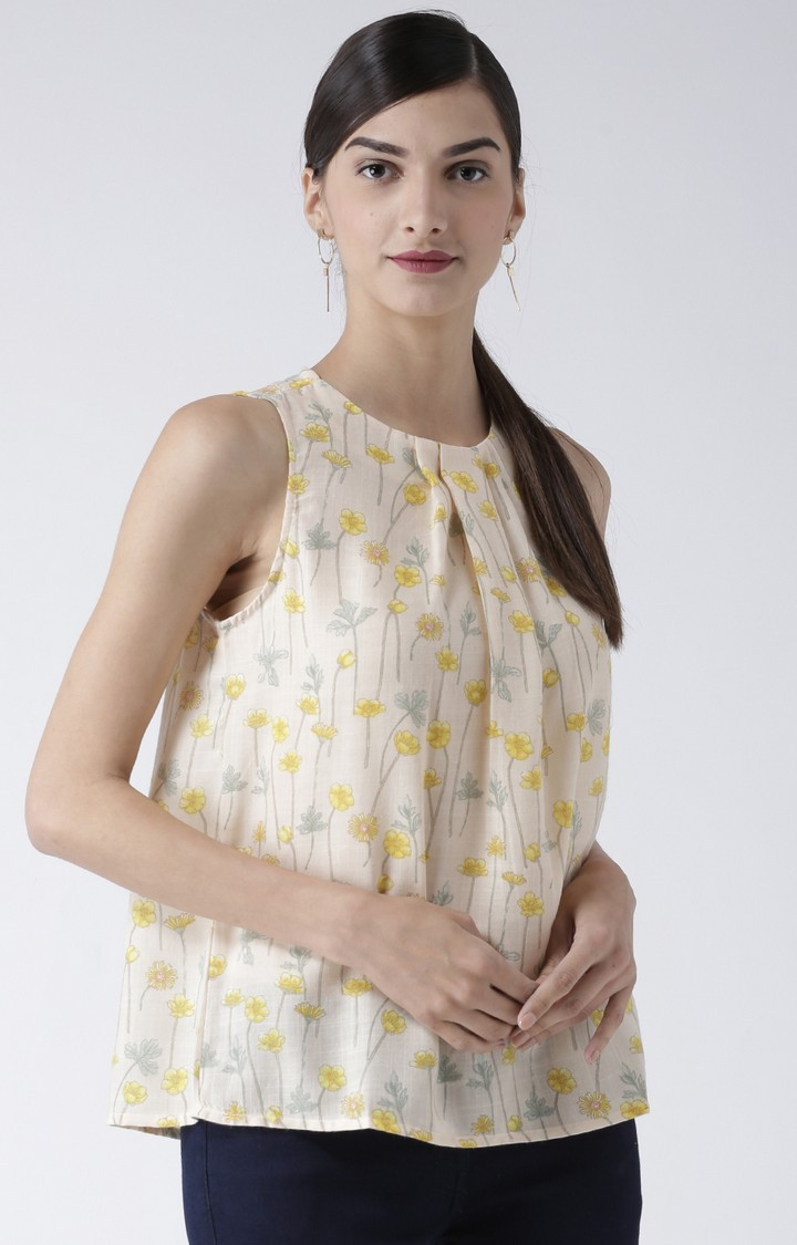 109F   Yellow Floral Top