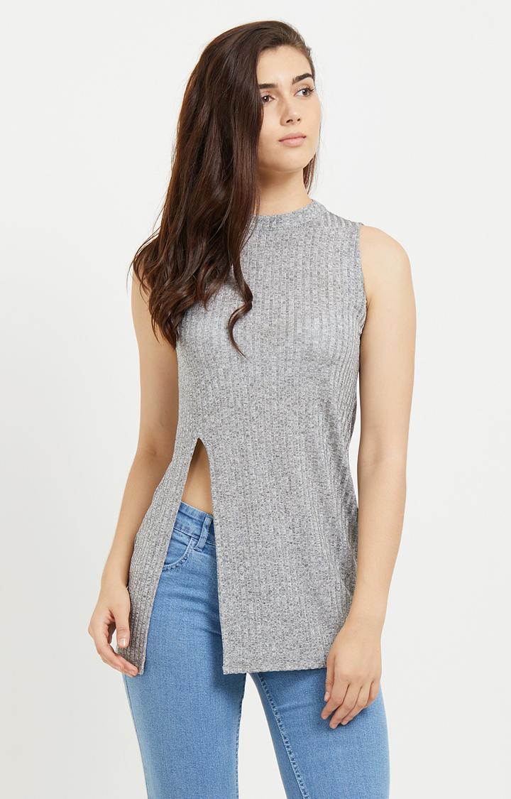 109F | Grey Melange Top with Side Slit