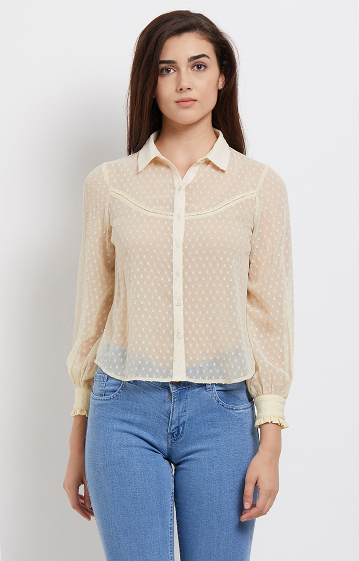 109F | Cream Self Design Shirt