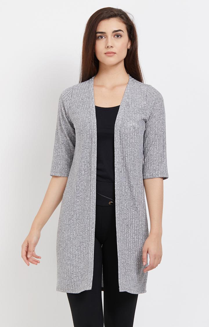 109F | Grey Melange Knitted Long Shrug