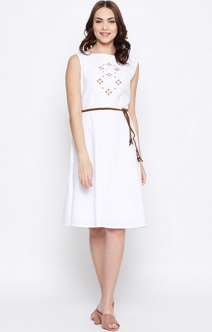 METTLE   White Embroidered Skater Dress