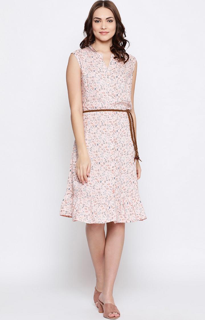 METTLE   Peach Printed Skater Dress